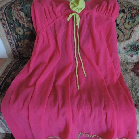 Nightie –neon Pink Mesh/lime Green Criss/cross Back Stretch Size XL NEW