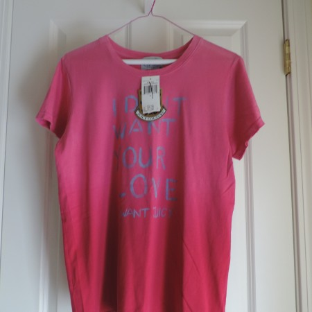 Juicy Couture Faded Pink T-shirt Size XL NEW