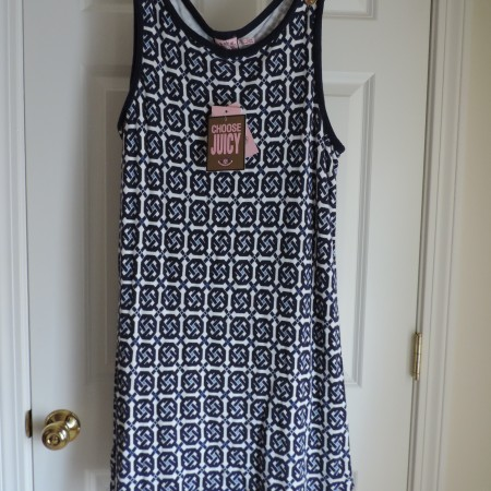 Juicy Couture  Blue & White Austin Print Shift Dress Terry Size XL NEW