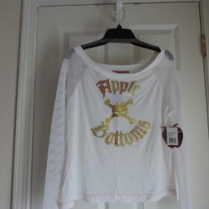 Apple Bottoms L/s White Shirt, Mesh Sleeves Size 1X NEW