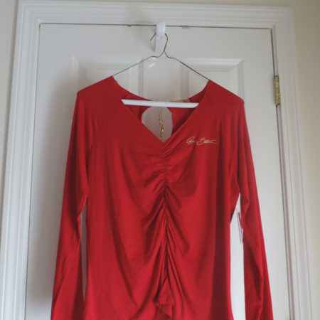 Apple Bottoms L/s Red Ruched Shirt Size 2X NEW