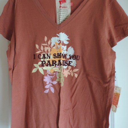 Brown Floral W/I Can Show You Paradise Embroidered On The Front, Size XXL NEW