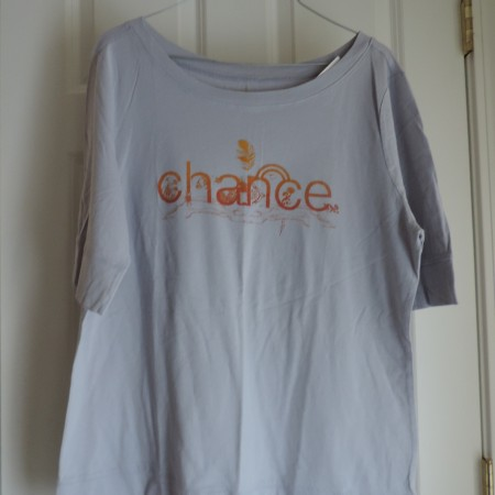 """Gray T-shirt 3/4 Sleeve In Orange Fade The Words """"Chance"""" Size XXL NEW"""