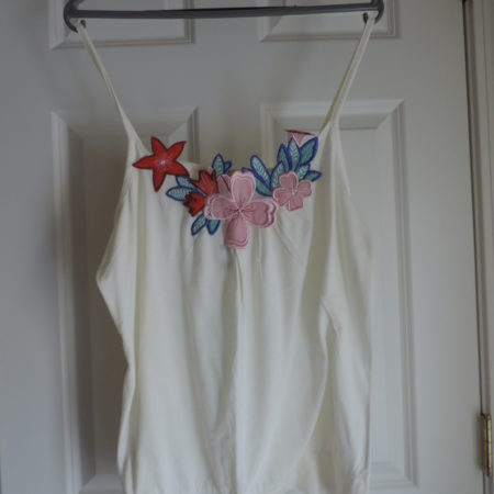 Cream Camisole With Large Floral Applique  Size XL NEW