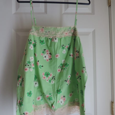 Green Floral Camisole W/cream Lace Trim Size XXL NEW