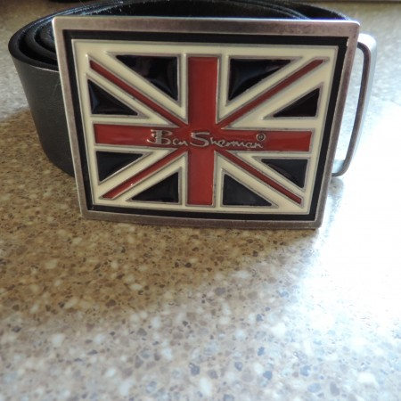 """Ben Sherman Brown Leather Belt — Metal Belt Buckle """"British Flag""""  Size 46″"""