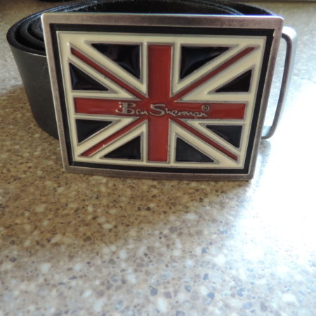 "Ben Sherman Brown Leather Belt — Metal Belt Buckle ""British Flag""  Size 46″"