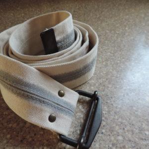 Gap White Fabric W/gray Stripe In Middle Belt — Metal Belt Buckle NEW Size Xxl