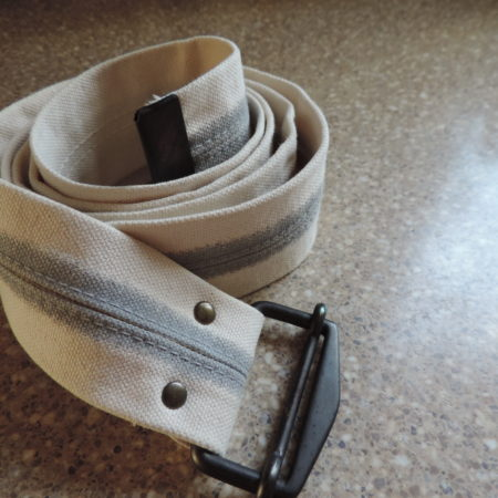 Gap White Fabric W/gray Stripe In Middle Belt — Metal Belt Buckle NEW Size Xxl