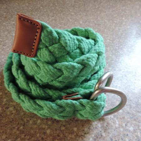 Green Web Belt — Metal Belt Buckle, Leather Tab NEW Size L/xl