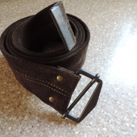 Olive Green Suede Belt — Metal Buckle NEW Size Xxl