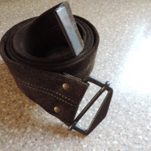 Olive Green Suede Belt — Metal Buckle NEW Size Xxl