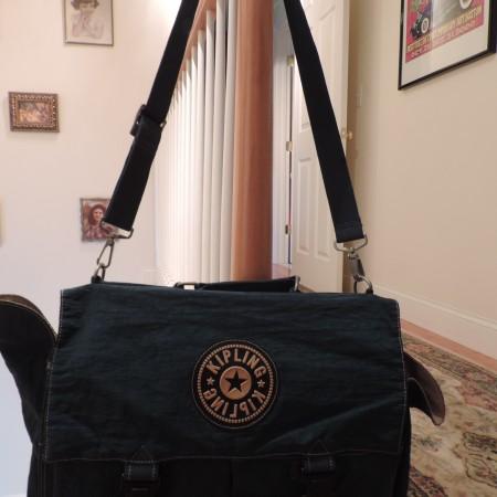 Kipling Teal Briefcase, Lock Closures, 2 Front Pockets,  2 Divided Sections Inside