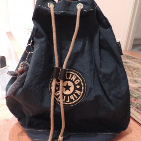 Kipling Teal Large Drawstring Backpack — Zip Pocket Inside