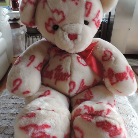 """Valentine Teddy Bear 17″ Tall Has """"Love You"""" And Hearts All Over The Bear NEW"""