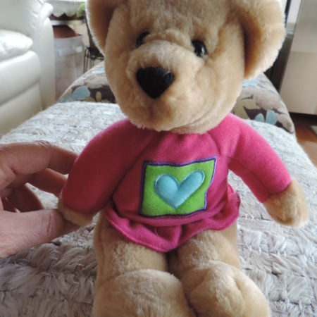 Valentine Teddy Bear Girl 10″ Tall Has A Pink Shirt On With Blue Heart In The Middle NEW