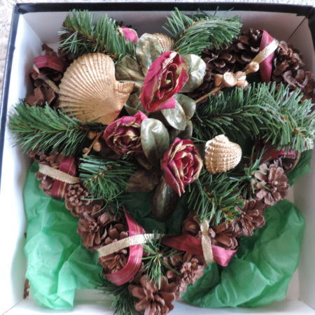 Valentine Door Wreath – Shells, Pine Cones, And Gold Edges Roses- Heart Shaped