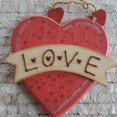 Valentine Wooden Heart Shape Door Hanger 8″ Wide, 7″ High