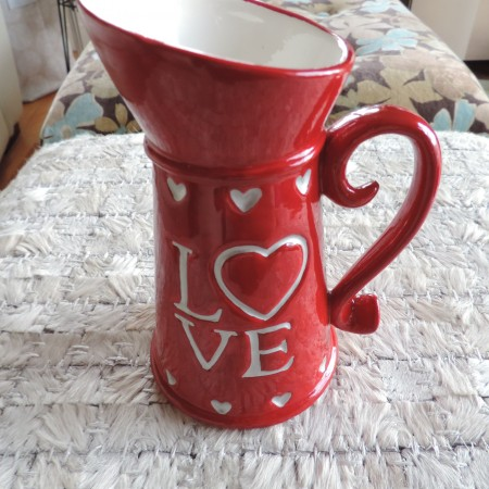 "Valentine Red Tankard W/silver ""Love You"" On Both Sides NEW 5″ High"
