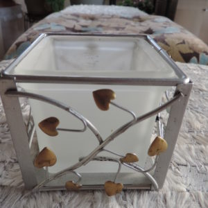 Valentine Square Frosted Cube Candle Holder In A Silver Heart Cage 3 1/2″ X 3 1/2″