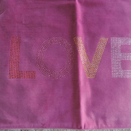 "Valentine ""Love"" Placemats In Fuschia Velveteen Colored Studs Set Of (2) NEW"