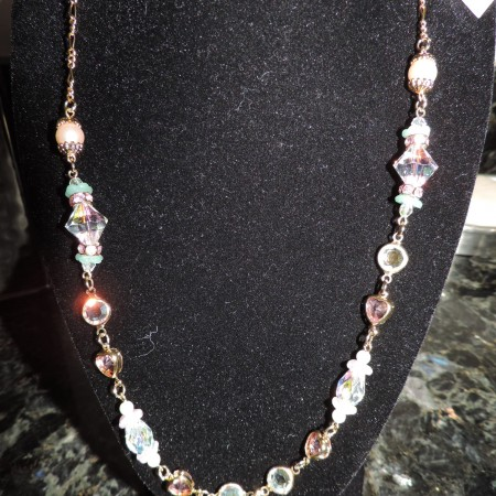 Kirks Folly 20″ Gold Necklace — Irid. Beads, Pink & White Pearls, Pink Hearts & Flowers NEW