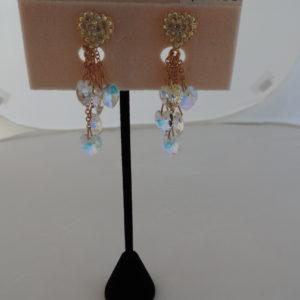 Kirks Folly Gold Clip Earrings Rhinestone Hearts @ Top W/5 Dangling Rhinestone Hearts NEW