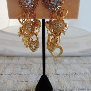 Kirks Folly Gold Clip Earrings Rhinestone Hearts @ Top W/hearts, Locks & Key NEW