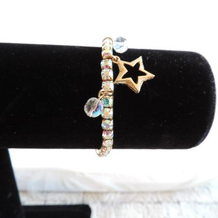 Kirks Folly Gold Stretch Irid. Bracelet W/ 2 Irid. Balls & 1 Gold Star