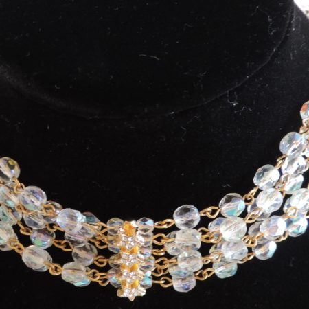 Kirks Folly Gold 6 Strand Irid. Beaded Choker W/rows Of Ird. Gold Stars In-between