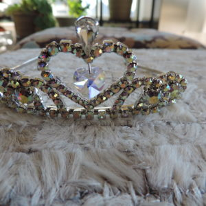 Kirks Folly Tiara Gold Color All Rhinestones, Big Heart In Middle, Dangling Heart Inside NEW