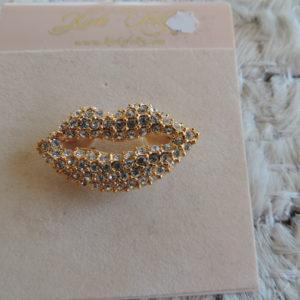 "Kirks Folly Gold Pin — Rhinestone ""lips"" NEW"