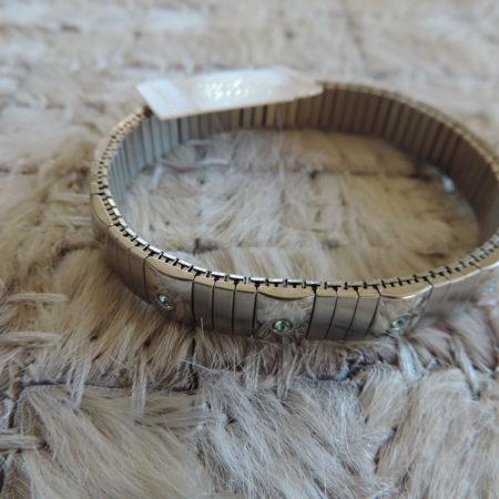 Kirks Folly Stainless Steel Stretch Bracelet W/ Scattered Blue Stones NEW