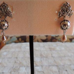 Kirks Folly Pewter Pierced Earrings W/chamoagne Pearls & Pearl Drops NEW