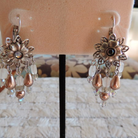 Kirks Folly Pewter Pierced Earrings Flower Top, Rhinestone Middle, NEW