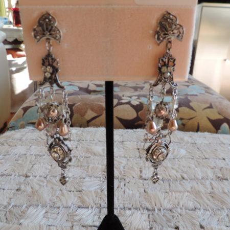 Kirks Folly Pewter Pierced Long Earrings, Rhinestones & Champagne Pearls NEW