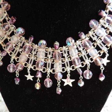 Kirks Folly Silver Irid. Beaded Choker W/rows Of Purple Beads & Stars
