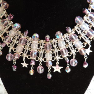 Kirks Folly Silver Irid. Beaded Choker W/rows Of Purple Beads & Stars