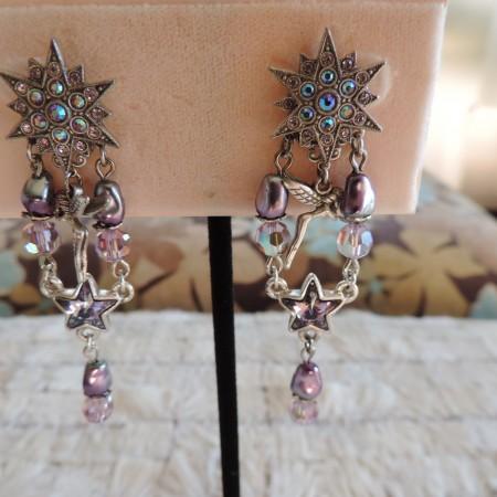 Kirks Folly Pewter Pierced Earrings W/multicolor Rhinestones Stars @ Top  New