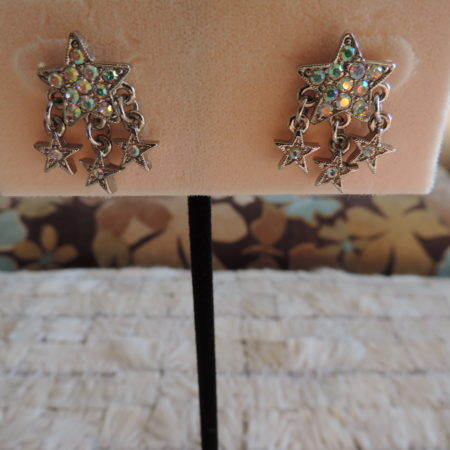 Kirks Folly Silver Pierced Earrings Rhinestone Stars W/ 3 Stars Dangling From Ea. Earring NEW