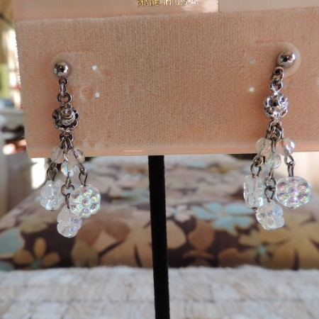 Kirks Folly Silver Pierced Earrings Rose W/ Irid. Roses Hanging From Ea. Earring NEW