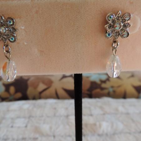 Kirks Folly Silver Pierced Earrings W/irid. Flower & W/ Irid. Drops Hanging From Ea. Earring NEW