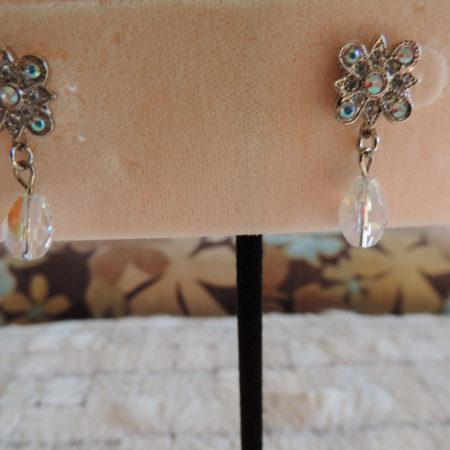 Kirks Folly Silver Pierced Earrings W/irid. Flower & W/ Irid. Drops Hanging From Ea. Earring NEW