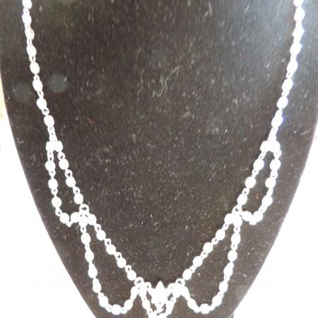 Kirks Folly Irid. Bead Necklace W/2 Irid. Stars Hanging Off — Adjustable   NEW