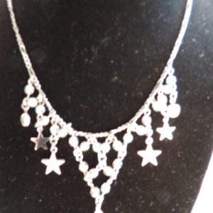 Kirks Folly Silver Necklace Irid. Bead Necklace, Stars, 1 Briolette Hanging Off NEW