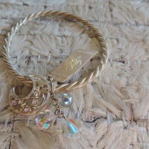 Kirks Folly Silver Twisted Bangle –moon/irid. Beads NEW