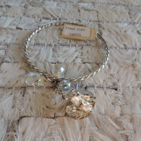 Kirks Folly Silver Twisted Bangle –cupid/irid. Beads NEW