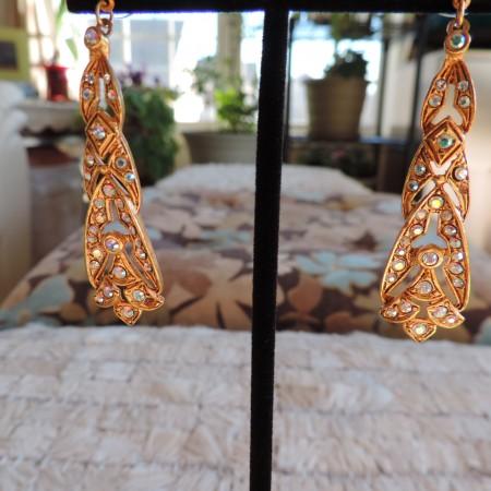 Kirks Folly Gold Pierced Earrings Intricate W/multi Color Rhinestones