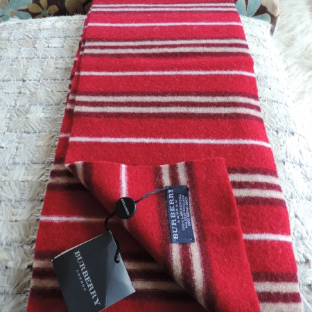 Burberry 100% Lambswool Scarf Extra Long  Burgundy, Cream, & White Stripes NWT