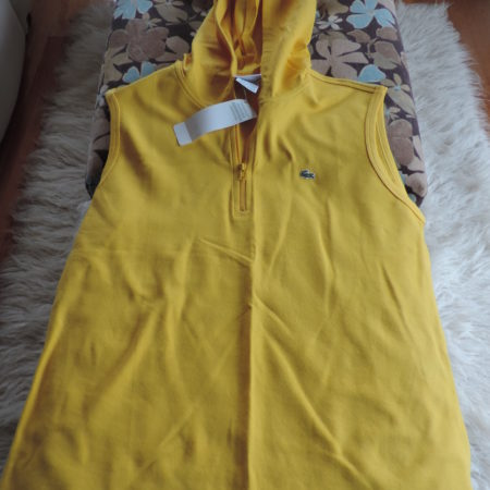 Lacoste Pique Cotton Yellow Sleeveless Hoodie 1/2 Zip Up Front NWT Size 46/14